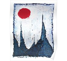 Buildings and Red Sun-4 By VERNON SULLIVAN Poster