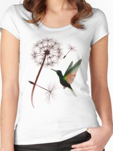 Dandelion and Little Green Hummingbird Women's Fitted Scoop T-Shirt