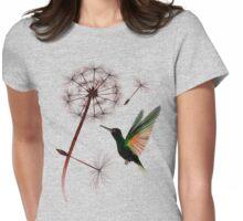 Dandelion and Little Green Hummingbird Womens Fitted T-Shirt