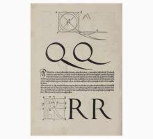 Measurement With Compass Line Leveling Albrecht Dürer or Durer 1525 0126 Alphabet Letters Calligraphy Font One Piece - Short Sleeve