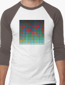 Color Grid 01 Men's Baseball ¾ T-Shirt