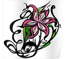 Pink and Black Floral Poster