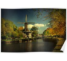 Autumn Glow on Dutch Windmill Poster