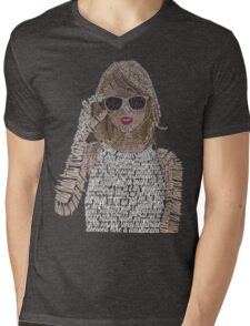 Taylor Swift Typography Mens V-Neck T-Shirt