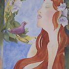 Lady Scarlett with finch by Ellen Keagy