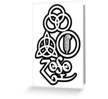 TRIQUETRA - BLACK METAL WHITE SOLID L Greeting Card