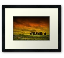 Stonehenge - The sun sets over this beautiful monument Framed Print