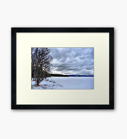 Swedish Lakes - Great frozen lake near mount Åreskutan in Sweden Framed Print