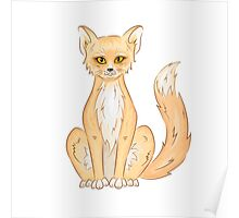 Hand drawn cute sitting fox Poster