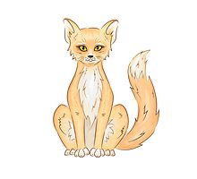Hand drawn cute sitting fox Photographic Print