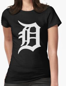 Detroit Old English D (White) Womens Fitted T-Shirt