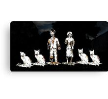 Zombie Couple with Cats Canvas Print