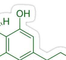 THC Molecule (Green) Sticker
