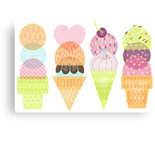 Ice Cream Stamps Canvas Print