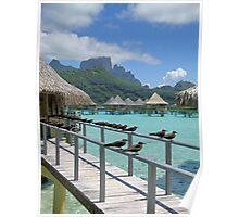 Overwater Bungalows on Bora Bora Poster