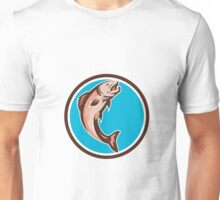 Trout Jumping Circle Retro Unisex T-Shirt