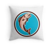 Trout Jumping Circle Retro Throw Pillow