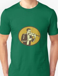 Violinist Musician Playing Violin Woodcut T-Shirt