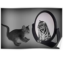 ㋡ MIRROR OF TRUTH WHAT DO I SEE? I SEE THE REAL TIGER IN ME ㋡ PICTURE/CARD Poster