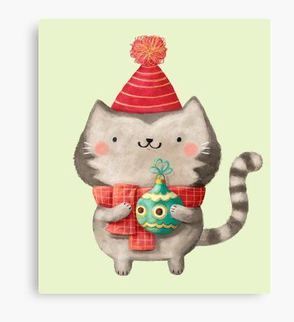 Cute Cat Christmas Canvas Print