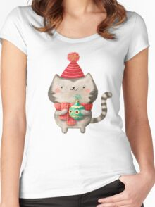 Cute Cat Christmas Women's Fitted Scoop T-Shirt
