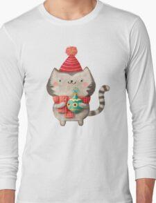 Cute Cat Christmas Long Sleeve T-Shirt
