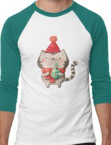 Cute Cat Christmas Men's Baseball ¾ T-Shirt
