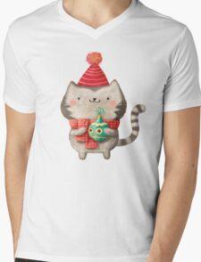 Cute Cat Christmas Mens V-Neck T-Shirt