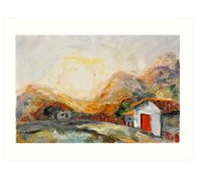 House with red door at Sunrise Art Print
