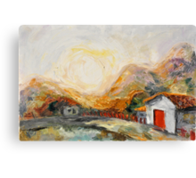 House with red door at Sunrise Canvas Print