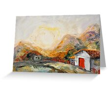 House with red door at Sunrise Greeting Card