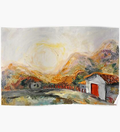 House with red door at Sunrise Poster