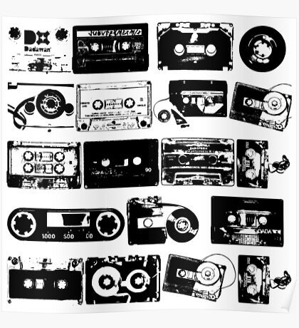 Audio tapes Vintage Black and white Poster