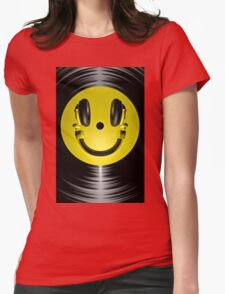 Vinyl headphone smiley Womens Fitted T-Shirt