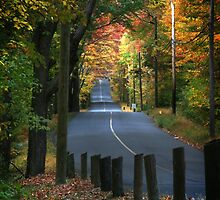 Autumn View of Banks Road, Easton, CT by vvfineartphotog
