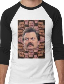 Ron Swanson Head Print Men's Baseball ¾ T-Shirt