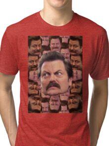 Ron Swanson Head Print Tri-blend T-Shirt
