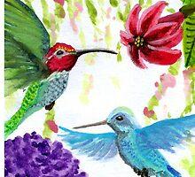 Anna's Hummingbird Pair by VJMaheu