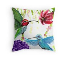 Anna's Hummingbird Pair Throw Pillow