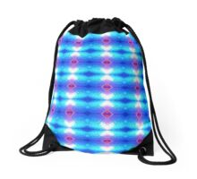Turquoise and Pink Neon Abstract Drawstring Bag