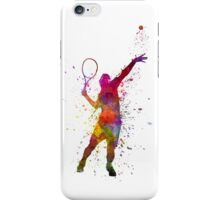 tennis player at service serving silhouette 01 iPhone Case/Skin