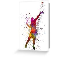 tennis player at service serving silhouette 01 Greeting Card
