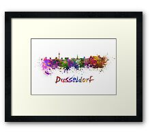 Dusseldorf skyline in watercolor Framed Print