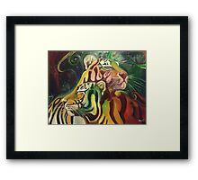 Rajah and Kaela: Chromatic Space Tigers Framed Print