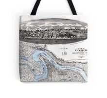 Vicksburg-Fortifications map-Mississippi-1863 Tote Bag