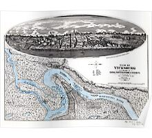Vicksburg-Fortifications map-Mississippi-1863 Poster