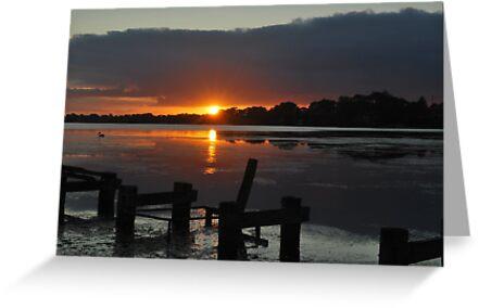 Budgewoi lake,,20-10-2010.Sunrise.. by Warren  Patten