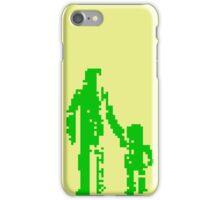 1 bit pixel pedestrians (green) iPhone Case/Skin