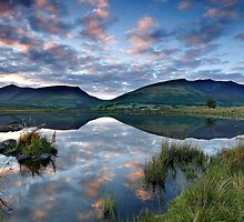 Skiddaw and Blencathra reflections in Tewet Tarn in the English Lake District by Martin Lawrence