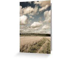 Fields, a Trail and some Clouds Greeting Card